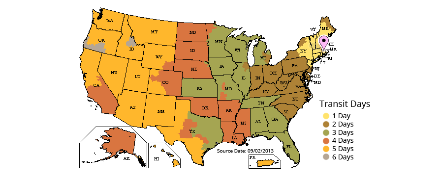 UPS Ground Transit Map